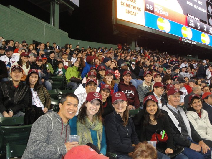 Happy HSPH alumni watch the Red Sox win in May 2011